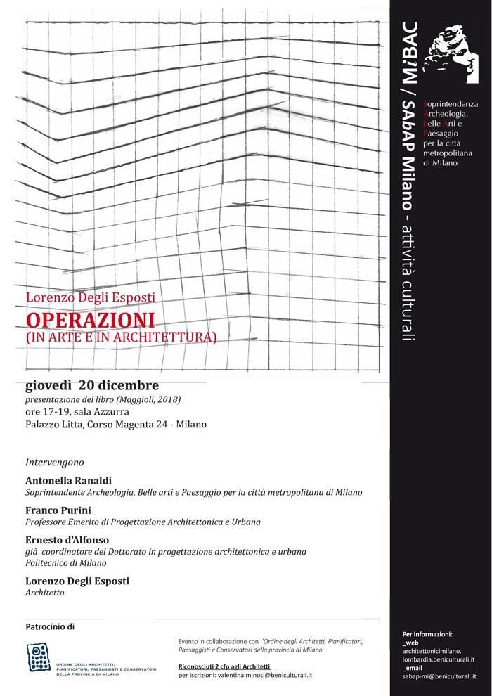 Lorenzo Degli Esposti, OPERAZIONI (IN ARTE E IN ARCHITETTURA) – giovedì  20 dicembre 2018